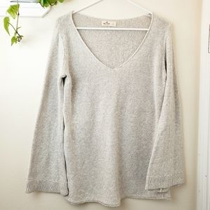 Hollister Bell Sleeve Cream Knit V-neck Tunic Top
